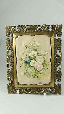 Floral Small Framed Painted Cloth