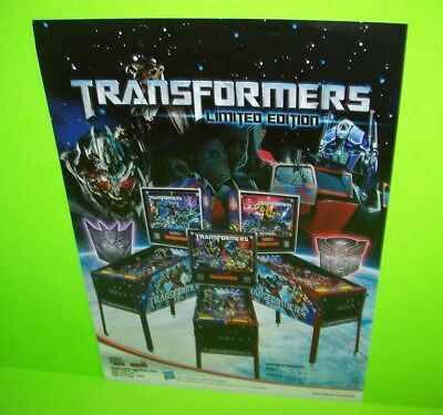Stern TRANSFORMERS Limited Ed. Original 2011 Arcade Pinball Machine Flyer RARE