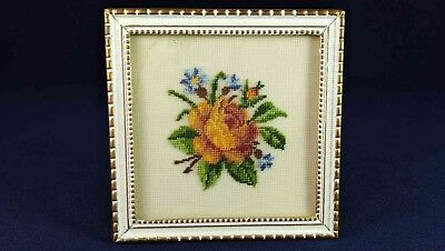 Danish Pink Rose Small Framed Petit Point
