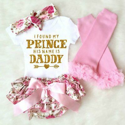 4Pcs Newborn Baby Girls Cotton Tops Romper Bodysuit Pants Outfits Set Clothes