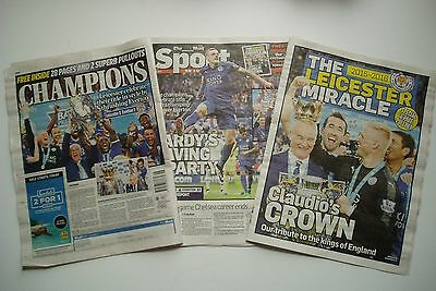 DAILY MAIL ON SUNDAY LEICESTER City CHAMPIONS May 2016 Newspaper football  pages