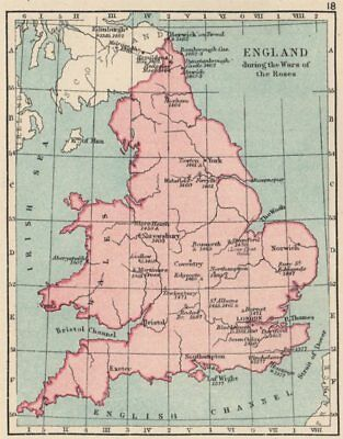 WARS OF THE ROSES. England & Wales. Battles/raids & dates. SMALL 1907 old map