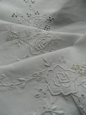 Lovely antique white Irish linen table topper with whitework embroidery. '#X