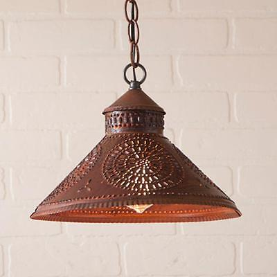 Country new STOCKBRIDGE rusty punched tin hang light /nice