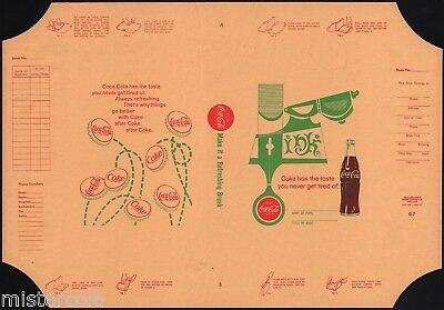 Vintage book cover COCA COLA dated 1967 picturing a bottle and caps unused nrmt+