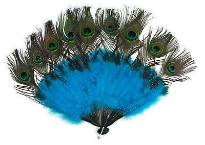 Peacock Tail Fan Feathers Marabou Mardi Gras Blue Hand Held Costume Accessory