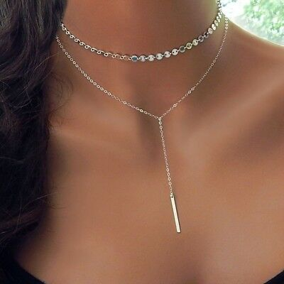 Fashion Nacklace Simple Long Bar Choker Necklace Gifts For Women  Coin Chocker