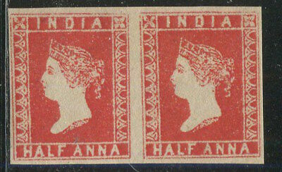 INDIA 1854 QV Victoria Red HALF ANNA Stamp Pair OG Gummed Aged REPLICA