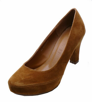 Ladies Brown Low-Heel Smart Work Slip-On Casual Comfy Court Shoes Sizes 2-7