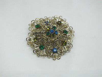 "Beautiful Brooch Pin Flower Gold Tone Filigree Green Blue Rhinestones 2 1/4"" WOW"