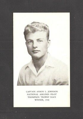 Ad Card: National Airlines Pilot A.l. Johnson, 1948 Thompson Trophy Winner / Map