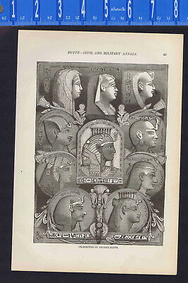 EGYPT: Montage of Famous Ancient Egyptians  - 1885 Ancient History Illustration