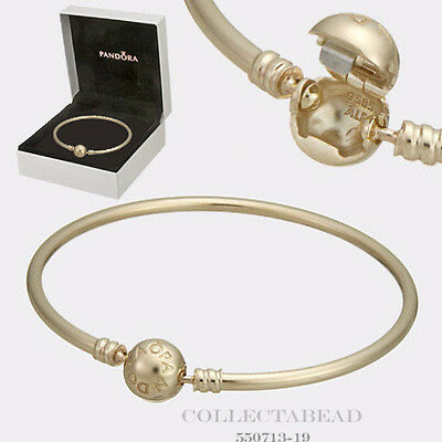 857ad0944 Authentic Pandora 14K Gold Bangle with Signature Clasp Size 6.7