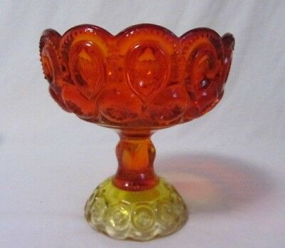 """L E Smith Moon & Star Red Yellow Amberina Footed Compote  6 1/2"""" Glows"""