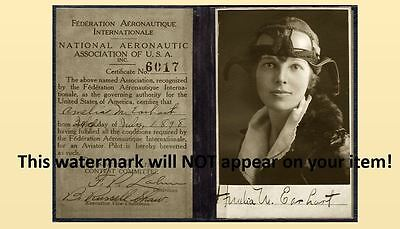 1923 Amelia Earhart Pilot's License PHOTO,No Joke! Autograph  / Signature Shown