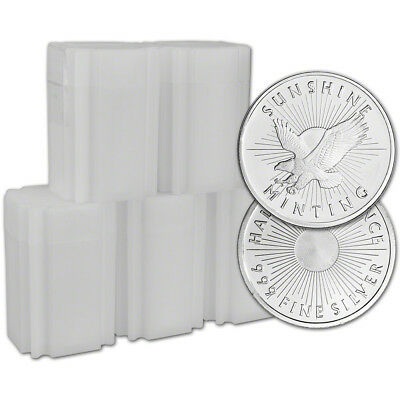 100-pc 1/2 oz Silver Round - Sunshine Minting - .999 (Lot, Rolls, 5 Tubes of 20)