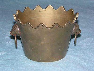 Vintage Heavy BRASS Mini ASH CAN Bucket LION Heads Trinket Paperweight Ashtray