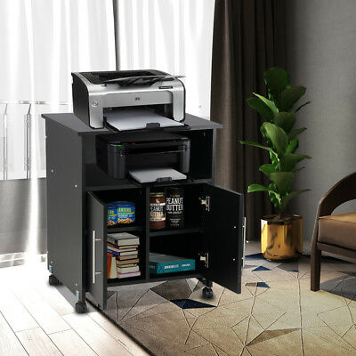 Collection Printer Stand Mobile Desk Cabinet Home Rolling Cart Storage Cupboard