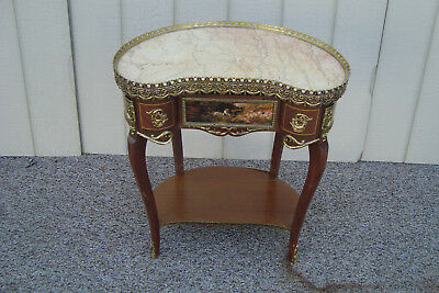 59309 Marble Top Louis XV Nightstand End Table Stand