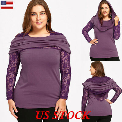 Plus Size Women Casual Hoodie Lace Panel Long Sleeve Tunic T Shirt Tops Blouse