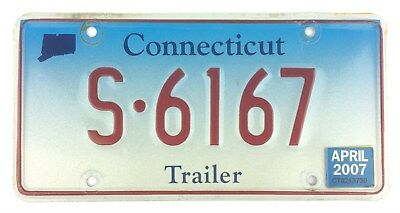 Connecticut 2007 COMMERCIAL TRAILER License Plate S-6167!