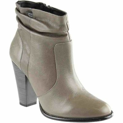 Ladies Black//Grey Leather Rouched Harley Davidson Heeled Ankle Boots Stonebrook