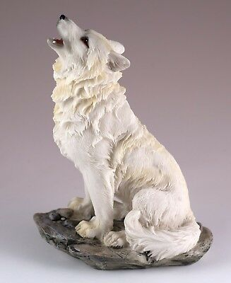 """White Wolf Howling Figurine Resin 5.5"""" High - Highly Detailed Resin New In Box"""