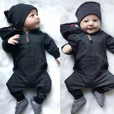 Newborn Infant Baby Boy Girl Romper Jumpsuit Hooded Bodysuit Clothes Outfit CHY