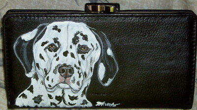 Dalmatian Dog Hand Painted Designer Leather Wallet for Women
