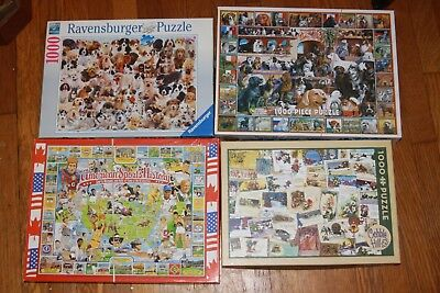 LOT 4 WHITE Mountain, Cobble Hill, Ravensburger Jigsaw Puzzles, Dogs,  Cards, etc