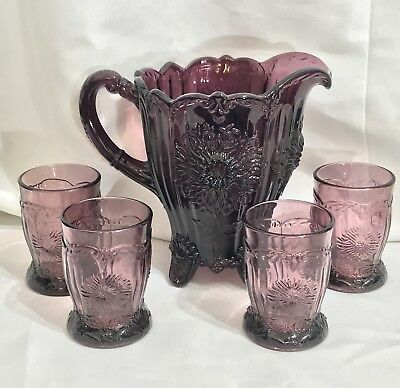 MOSSER Amethyst DAHLIA Pitcher & 4 Tumble Set - See Pics
