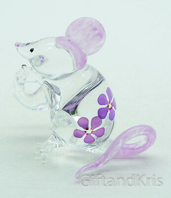 Figurine Animal Hand Blown Glass Purple Flower Rat Mouse Mice - GPRA005