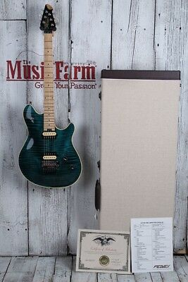 Peavey HP2 Solid Body Electric Guitar Flame Maple Cyan with Hardshell Case & COA