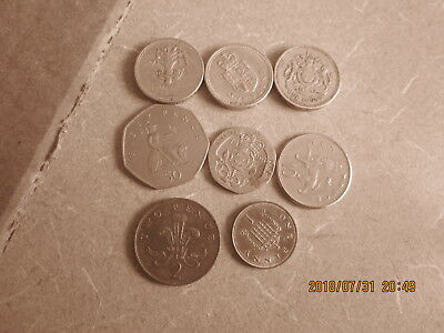8 Different U.k. Coins, Collectible