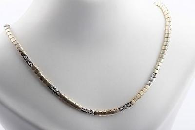 Collier mit Diamant Brillant Brillanten Kette in 585 er 14k Bicolor Gold 44 cm