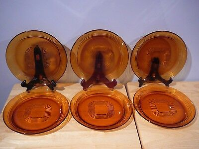 6 Vintage Duralex Dinner Plates Geometric Design Amber Glass
