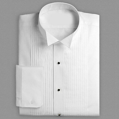 New White Band Tuxedo Shirt Pleated Wing Collar Symphony Concert Attire Choir