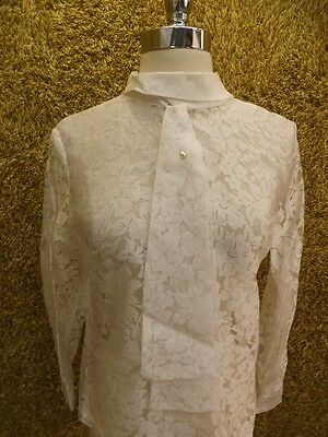 Amazing Vtg 50s 60s NOS Sheer White Floral Back Button Down Neck Tie Blouse S/M