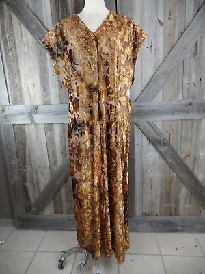 Vintage EDEL Womens XL Brown Floral Burn Out Velvet button Front Long Duster