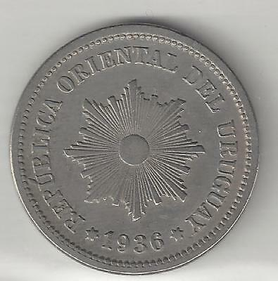 Uruguay,  1936-A,  2 Centesimos,  Copper Nickel,  Very Fine-Extra Fine,  Km#20