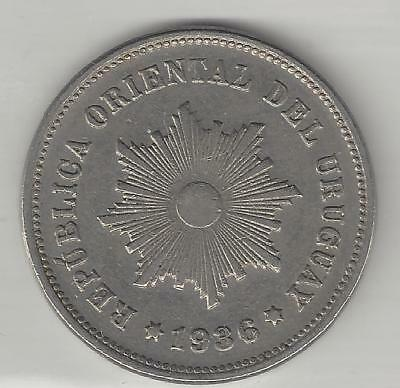 Uruguay,  1936-A,  5 Centesimos,  Copper Nickel,  Extra Fine,  Km#21