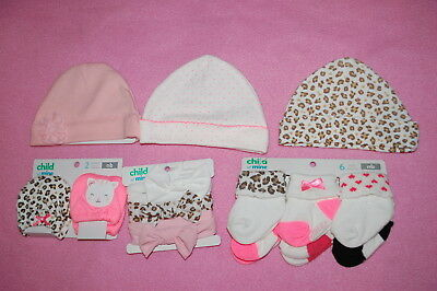 Baby Girls BABY SHOWER LOT Carter's HATS HEADBANDS SOCKS MITTENS Size Newborn