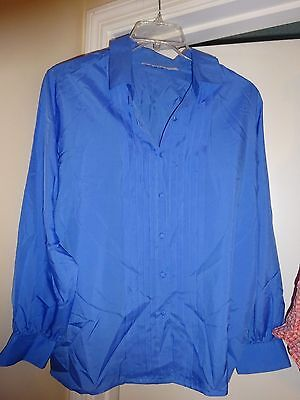 Ladies Unbranded Blue Polyester Button Front Long Sleeve Blouse Size 40 Woman