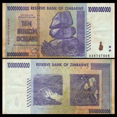 Lot 5 PCS, Zimbabwe 10 billion Dollars, 2008, P-85, Circulated XF MONEY CURRENCY
