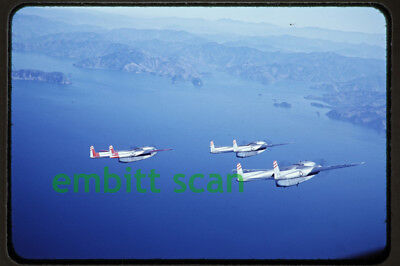 Original Slide Air-to-Air USAF Fairchild C-119 Flying Boxcars 1950s Ashiya Japan