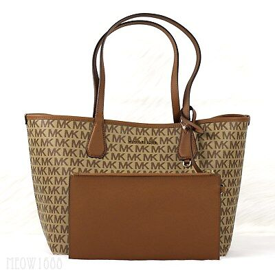 ffb84d1f3b83 New Michael Kors CANDY Brown Luggage Reversible Logo Tote Shoulder Bag and  Pouch