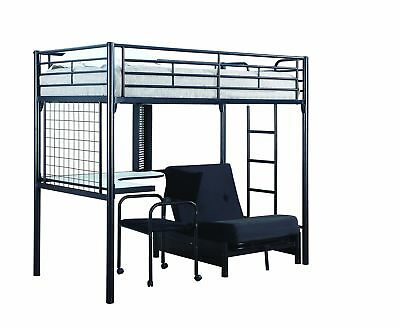 Bunk Bed Futon Chair Combo Workstation Teens Room Dorm Space Saver