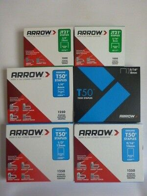 Genuine Arrow Staples - 6, 8, 10, 12 & 14mm - 1000 and 1250 Packs
