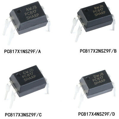 PC817 A/B/C/D File DIP-4 Transistor Output Optocoupler Isolator Optoisolator