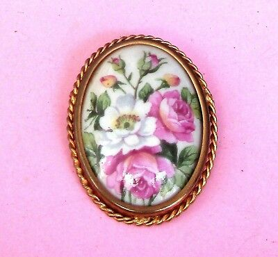 Gorgeous French Vintage 'Limoges' Porcelain Floral Brooch